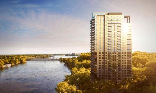 Équinoxe Lévesque condos locatifs le bâtiment au bord de la rivière